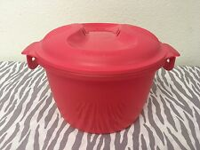 Tupperware Microwave Rice Cooker/Steamer Red / Coral 2 Quarts New