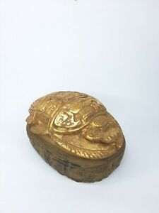 BEETLE CARVED ANTIQUE GOLD Stone Ancient Stone Egypt Vintage Scarab Egyptian Bc