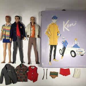Vintage 1961 Barbie Flocked Hair Ken Doll #750 Allan w/Case Mod Outfit Lot NICE!