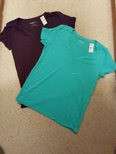 2 Express Slimming Tees Size M, Dark Purple & Teal