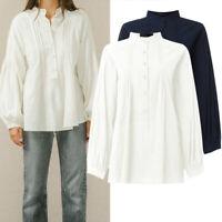 Plus Size Women Loose Cotton Button Blouse Ladies Long Sleeve Casual Top T Shirt