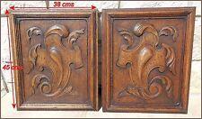 Pair Antique French Hand Carved Oak Wood Door two Panel /doors