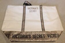 NWT VICTORIA'S SECRET Large Canvas Carryall Tote Bag Gold Glitter
