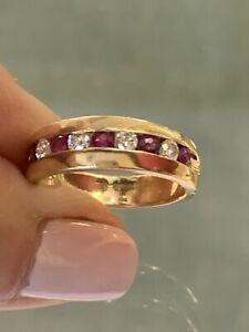 Estate 14k Yellow Gold Diamond & Ruby Band Ring