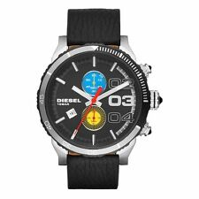 DIESEL Uhr DZ4331 DOUBLE DOWN Herren Chronograph Leder Armbanduhr Datum NEU