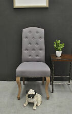 French Provincial Style Button Back Washed Oak Linen Upholstered Dining Chair