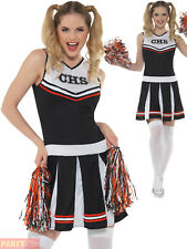 Smiffys 47122m Cheerleader Costume Black Medium UK 12-14