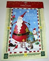 "CHRISTMAS DECORATIVE YARD FLAG 12""x 18""   WINTER FRIENDS"