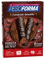 Pesoforma - 12 Barrette Gusto Cioccolato Fondente Amabile - 6 Pasti Sostitutivi