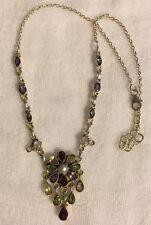 Multi Gemstone Sterling Silver Necklace Peridot Citrine Garnet Amethyst