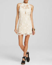 NWT FREE PEOPLE Snow Drop Lace Trapeze Dress in Softshell (Ivory) $250 - M