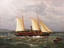 James Gale Tyler c.1880 steam yacht oil painting New York Yacht Club