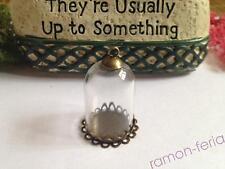 10 Glass Pendant Locket Charm Wide Opening Bottle Bronze Double lace cap 30*20mm