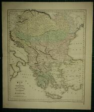 1850 LARGE ANTIQUE HAND COLOURED MAP ~ GREECE HUNGARY TURKEY IN EUROPE