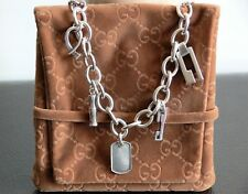 """NEW $750.00 GUCCI """"G"""" Dog Tag ITALY 925 Sterling Silver Various Charms Necklace"""