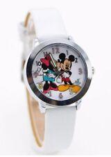 Kids Girls Mickey & Minnie Mouse Wrist Watch Analogue Leather Strap Slim White