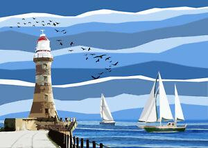 Roker Lighthouse Limited Art Print By Sarah Jane Holt Large Version