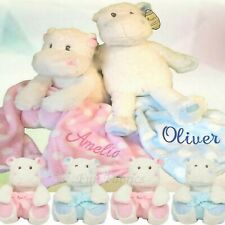 Personalised Teddy Bear Hippo & Blanket Set Newborn Baby Shower Christening Gift