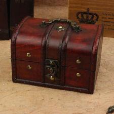 2pcs Wood Vintage Treasure Chest Jewellery Collection Organiser Storage Box Case