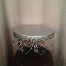 "Jeweled Metal 10"" Cake Plate Stand - Dessert Display Dangling Beads/Crystals NEW"