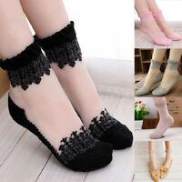 10 Pairs Women Ultrathin Cute Transparent Crystal Silk Lace Elastic Short Socks█
