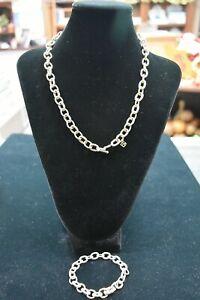 David Yurman STERLING SILVER 18K Necklace & bracelet SET COMBO 99.6 GRAMS