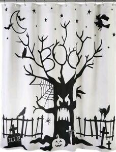 SKL HOME by Saturday Knight Ltd. Boo Tree Shower Curtain, White/Black