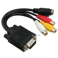 PC VMT SVMT TO S-Video 3 RCA Composite HD AV TV Out Converter Adapter Cable BMTC