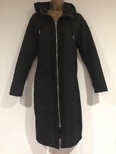Ladies Coat Size S Black WHISTLES Hood Padded Quilted Long Zip Up Stunning Immac