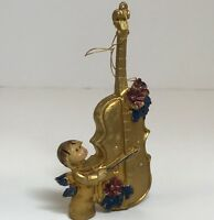Vintage Angel Christmas Ornament Made in Italy Gold Angel Playing Cello 5in High