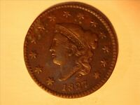 1827 CORONET TYPE LARGE CENT  <> VF+ Details<> -1031