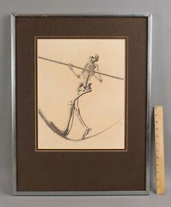 1972 Original JULIAN LANDA Surrealist Surreal Pencil Drawing SKELETON Tightrope