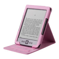 Pink PU Leather Folio Cover Case Stand for Amazon Kindle 4 4th Non-Touch