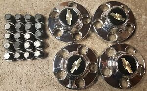 VINTAGE OEM 88-02 CHROME SET CENTER CAPS CHEVY CHEVROLET C1500 EXPRESS VAN 46254