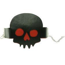 Bracelet femme réglable faux cuir Tête de mort gothique halloween noir rouge