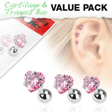 3 Pc Pink Heart CZ Ear Cartilage Daith Tragus Helix Earrings Barbell Studs