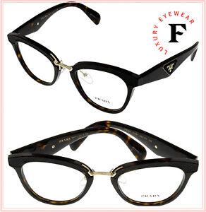 PRADA LEATHER ORNATE PR26SV Black Havana Eyeglasses RX Optical Frame 26S 51 mm