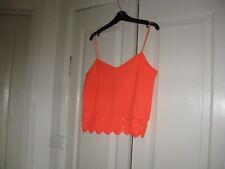 Ladies Cami Top Design Temt Size 10 Colour Orange Shoe String Straps Dacron 100%