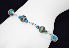 "Sterling Silver W/Rainbow Calsilica & KYOTO Fire Opal Beads Ladies Bracelet-7.5"""