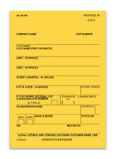 Vehicle Deal Label Plain Blank Car Lot Dealership Supplies Form Aa-168 P/A