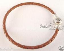 "NEW Authentic PANDORA Camel BROWN Leather/Silver Charms BRACELET 8.1""~20.5cm"