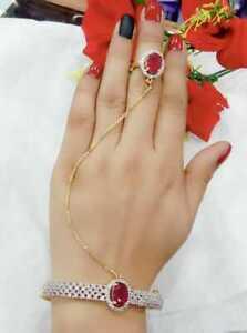 Designer Bracelet With Ring Chain Fashion Jewelry Party Wear Girls Lady Dress