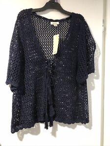 Beme Navy Shortsleeved Crochet Jacket, BNWT!