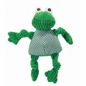 Hugglehounds Knottie Plush Durable Squeaky Dog Puppy Toy Frog Small Durable
