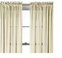 Royal Velvet Hilton Ivory Beige Silky Rod Pocket Window Curtain Panel 54 X 84