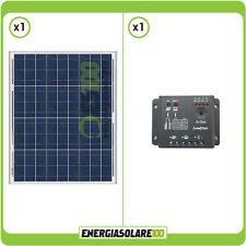 Kit Starter Solare Fotovoltaico  (Pannello 50 W 12V + Regolatore di Carica 5A)