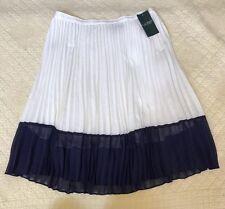 Lauren Ralph Lauren Women's Pleated Skirt Pearl/Navy Size 6 NWT