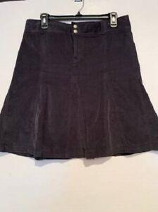 Women's Athleta Size 8 Cotton Whatever Cord Charcoal Gray Flair Skirt