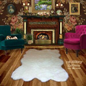 White Random Sheepskin Faux Fur Area Rug Shag Pelt Hide Throw Carpet FUR ACCENTS