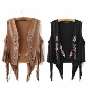 Women Suede Embroidered Vest Tassel Sleeveless Waistcoat Cardigan Motorcycle New